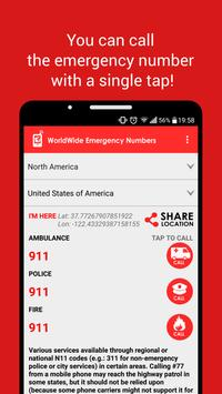 WorldWide Emergency Numbers poster