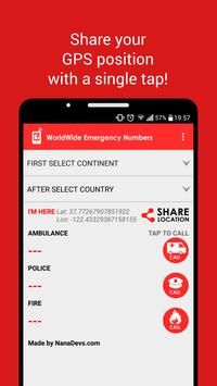 WorldWide Emergency Numbers apk screenshot