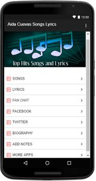 Aida Cuevas Songs Lyrics screenshot 1
