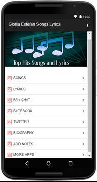 Gloria Estefan Songs Lyrics screenshot 1
