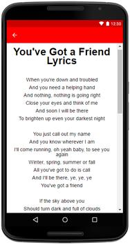 James Taylor Songs Lyrics screenshot 3
