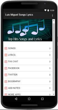 Luis Miguel Songs Lyrics screenshot 1
