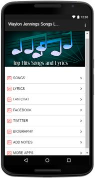 Waylon Jennings Songs Lyrics screenshot 1