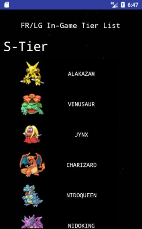 pokemon list in fire red