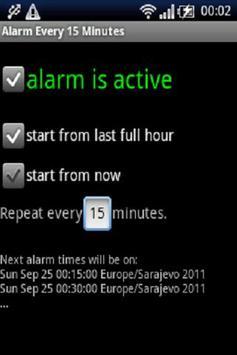 Alarma cada 15 minutos Poster