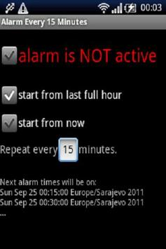 Alarma cada 15 minutos captura de pantalla 1