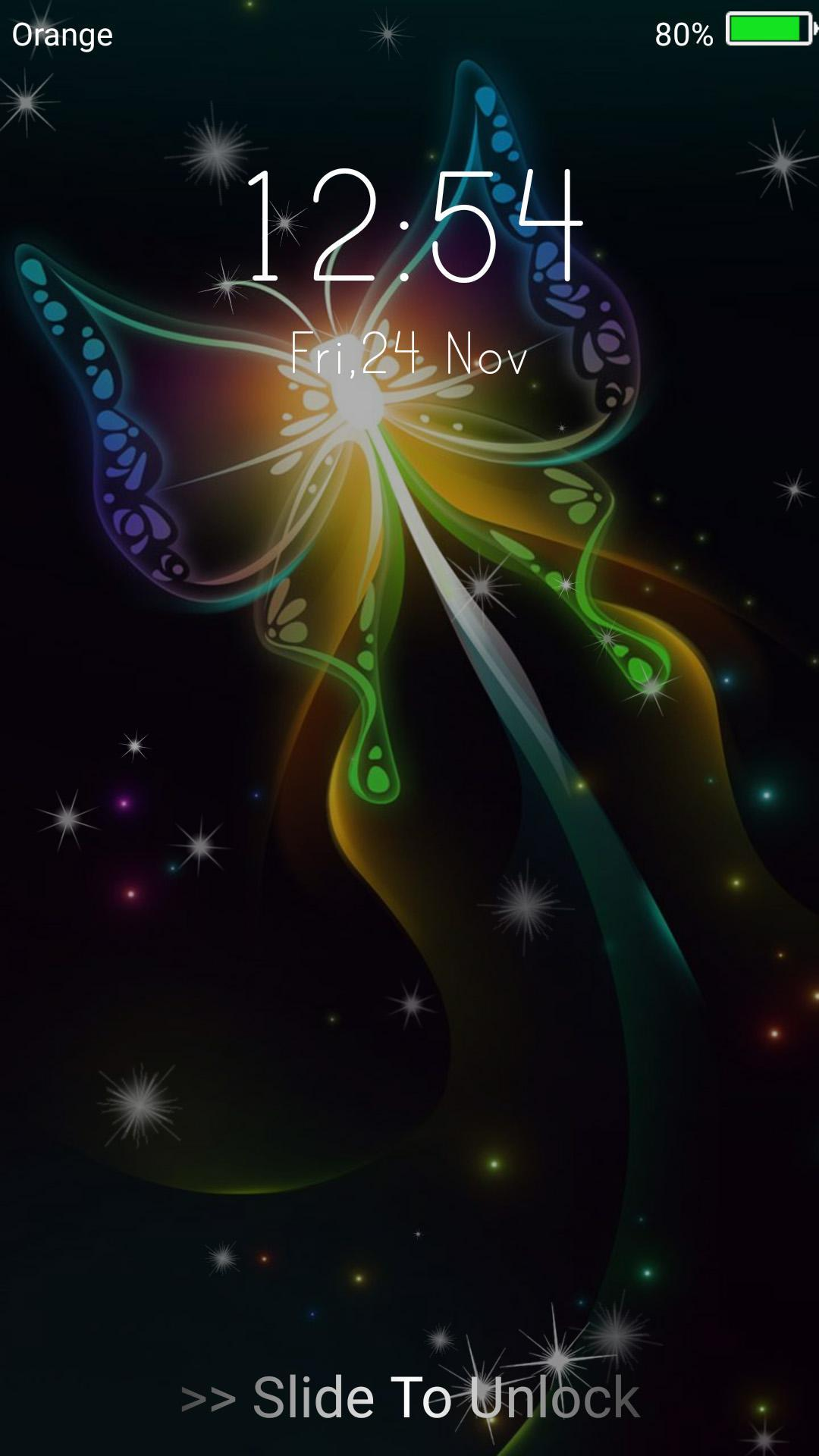 Neon Butterflies Live Wallpaper Lock Screen For Android
