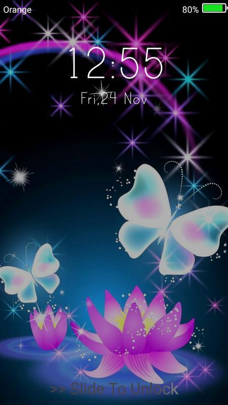 Neon Butterflies Live Wallpaper Lock Screen Screenshot 11