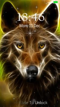 Neon Wolf Live Wallpaper Lock Screen Screenshot
