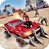 Road zombies smashing car killing games icon