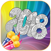 New Year 2018 Coloring Book icon