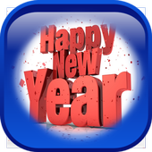 New Year 2018 Greeting card icon