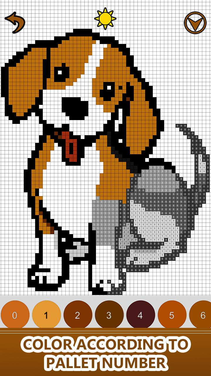 Dogs Color By Number Pixel Art Sandbox Coloring For