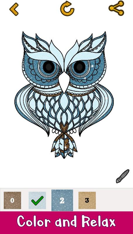 Owl Glitter Color by Number: Number Coloring Pages for Android - APK ...