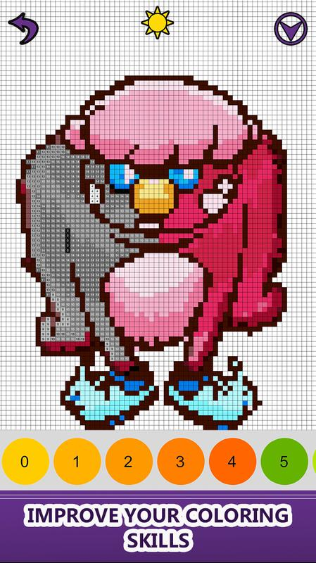 Monsters Color By Number Pixel Art No Color Book For Android Apk