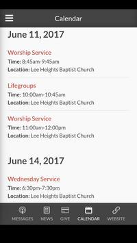 Lee Heights Baptist Church apk screenshot