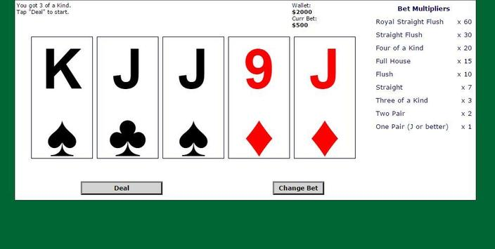 5 Card Draw Poker Solitaire apk screenshot