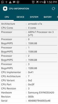 CPU Z : DEVICE INFORMATION apk screenshot