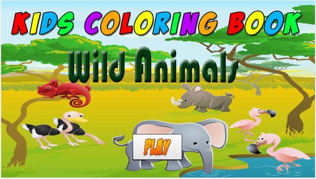 Kids Coloring Book wild animal poster
