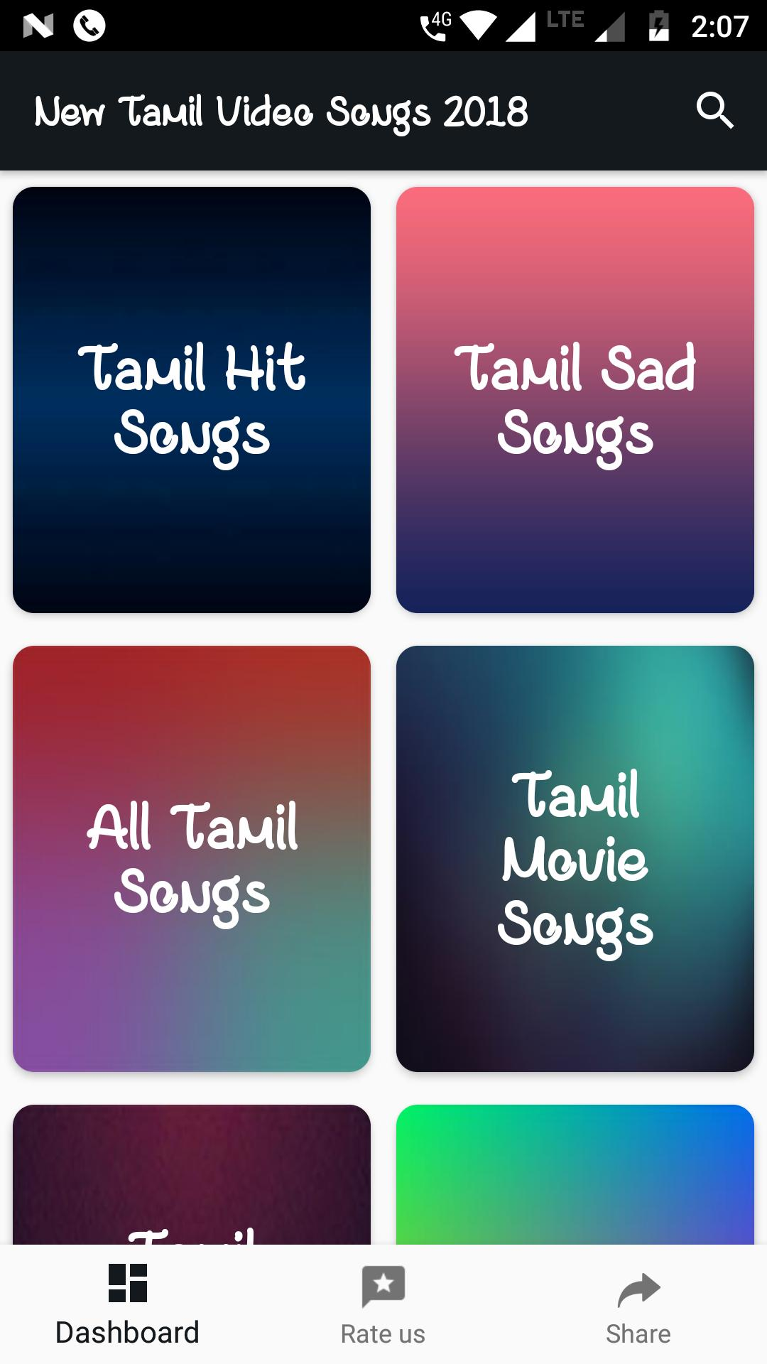 TAMIL SONGS VIDEOS 2018 : New Tamil Movies Songs for Android - APK
