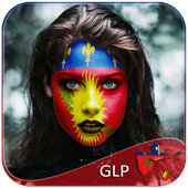 Guadeloupe Flag Face Paint - Standard Photography icon