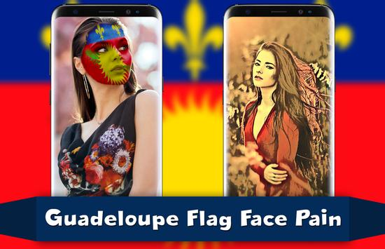 Guadeloupe Flag Face Paint - Standard Photography poster