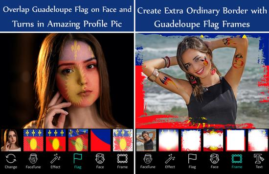 Guadeloupe Flag Face Paint - Standard Photography screenshot 1