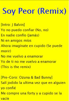 Soy Peor Remix - Bad Bunny FT J Balvin, Ozuna apk screenshot