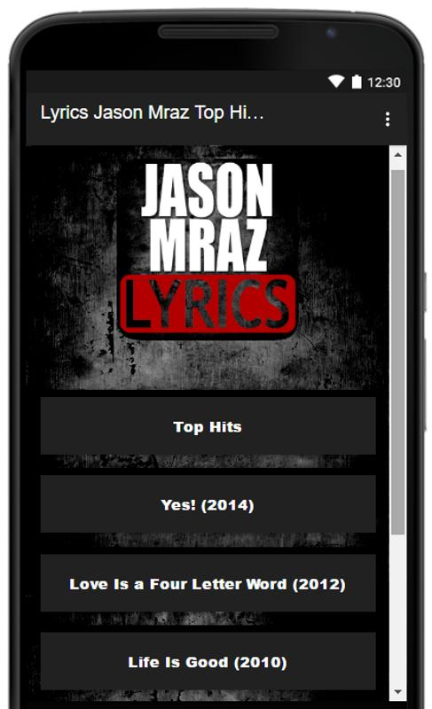 3eea0afdd7921 Jason Mraz Song Lyrics Top Hits for Android - APK Download