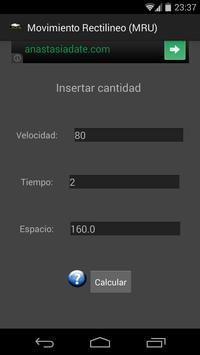 Movimiento rectilineo (MRU) apk screenshot