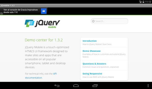jQuery mobile 1.3.2 Demos&docs apk screenshot