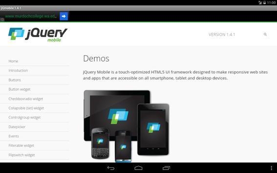 jQuery mobile 1.4.2 Demos&docs apk screenshot