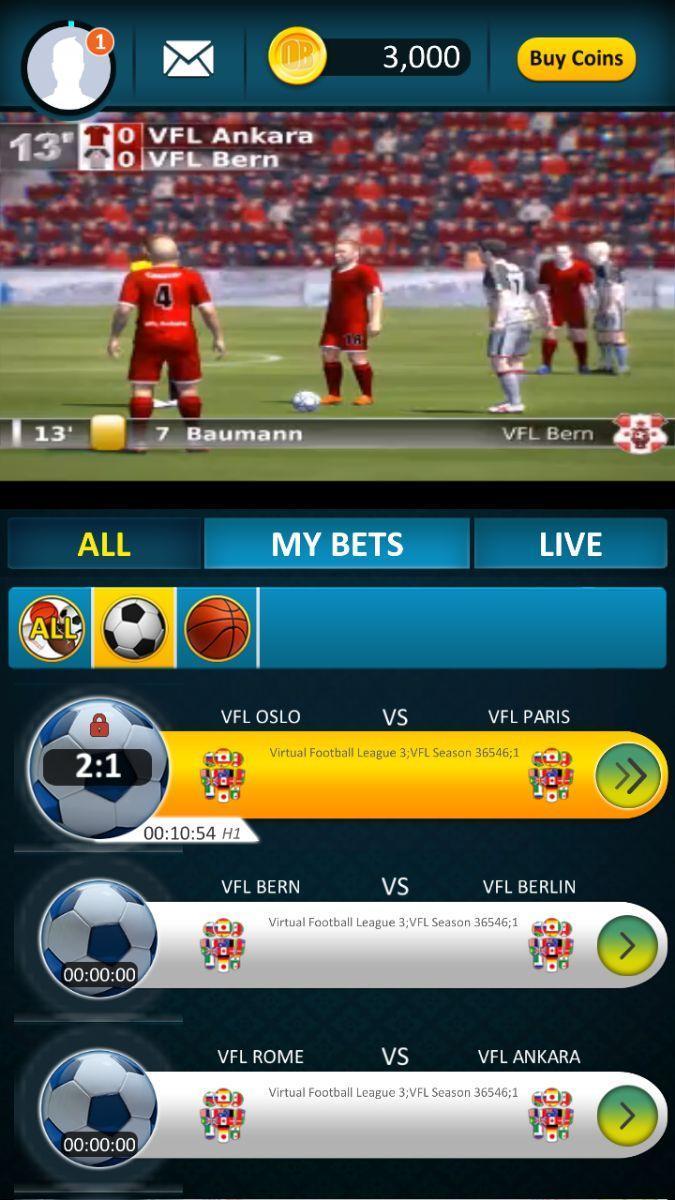 Virtual sports betting app live betting lines football