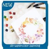 diy watercolor painting icon