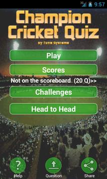 Champion Cricket Quiz poster