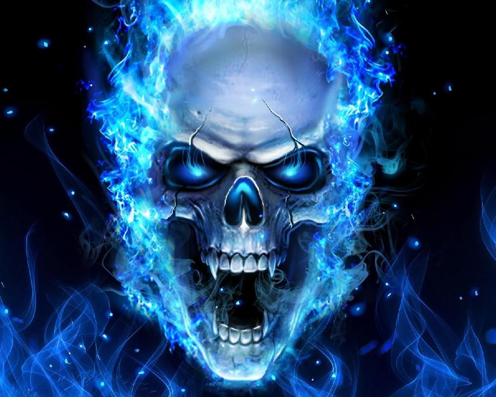 3d blue fire skull theme wallpapers for android apk download - Blue fire wallpaper ...