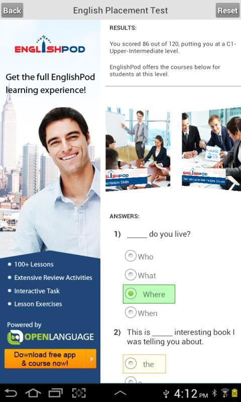 English Placement Test for Android - APK Download