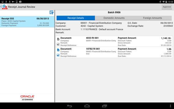 Receipt Batch Appr - JDE E1 screenshot 1