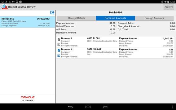 Receipt Batch Appr - JDE E1 screenshot 2