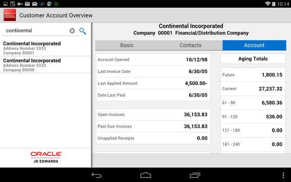 Customer Account - JDE E1 apk screenshot