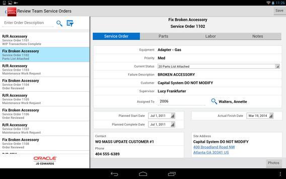 Team Service Orders - JDE E1 apk screenshot