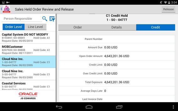 Sales Hold Release - JDE E1 apk screenshot