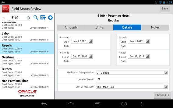 Field Status - JDE E1 apk screenshot