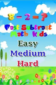 Fast Subtract Math Answer poster