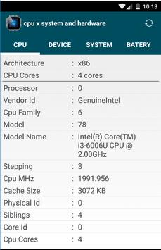 cpu x system and hardware info apk screenshot