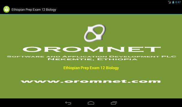 Biology Prep Exam Ethiopia G12 apk screenshot