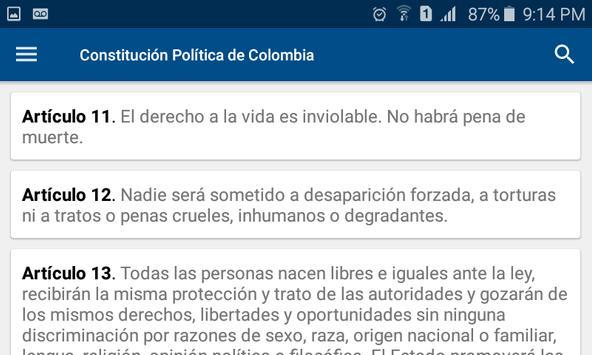 Constitución de Colombia screenshot 1