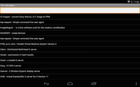 Linux/Unix manpages apk screenshot