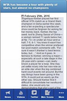 Tennis News and Scores apk screenshot