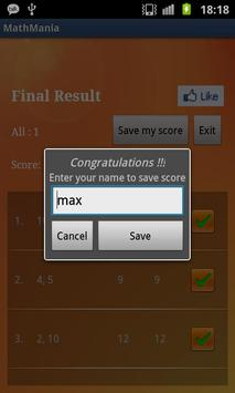 MathMania apk screenshot